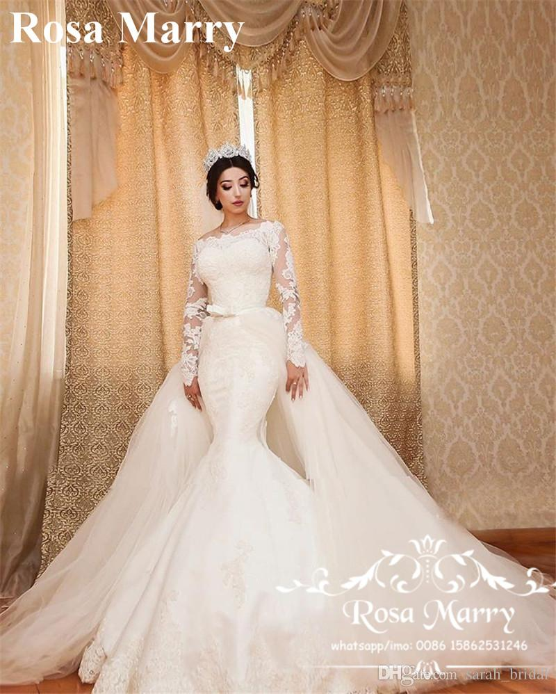 Dhgate Com Wedding Gowns: Sexy Vintage Lace Mermaid Wedding Dresses Detachable Train
