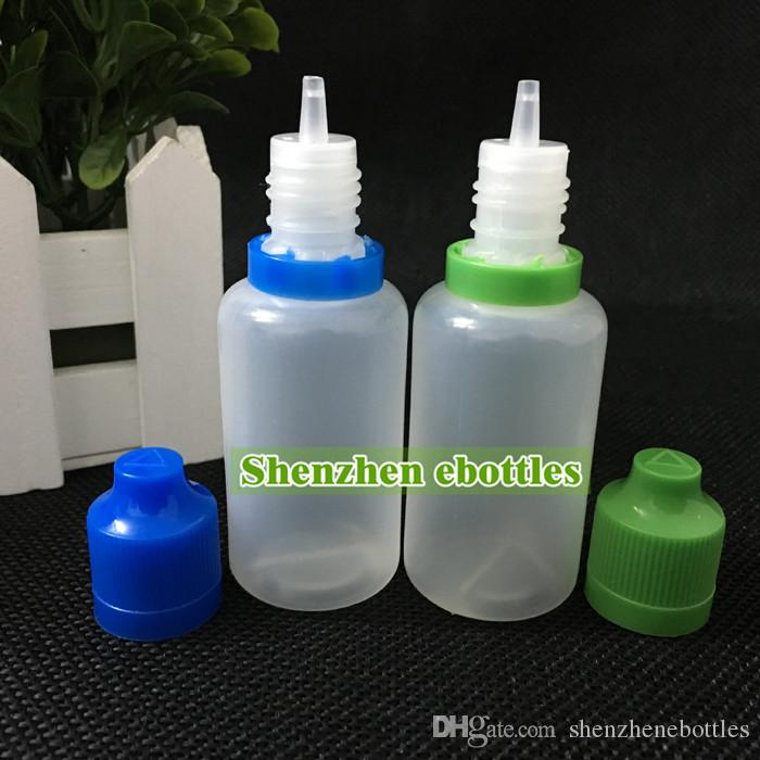 bouteilles de vente en gros chaud bouteille en plastique E-cigarette bouchon inviolable et childproof pointe de compte-gouttes long et mince 30ML PE en plastique Bouteilles Dropper
