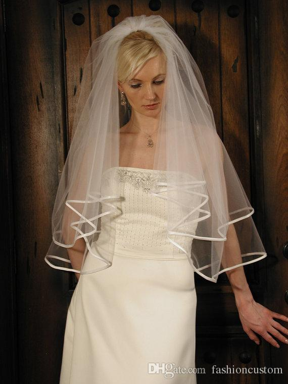 Fingertip length wedding veil two layer bridal veil Ribbon Edge White Ivory Champagne With comb 199a