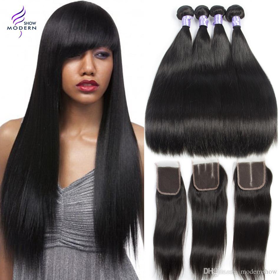 Moderne Show Haar Malaysia Gerade Haarwebart Bundles #4 Farbe Remy Menschenhaar Spinnt Bundles Doppel Schuss 100g Haar Verlängerung Haarverlängerung Und Perücken Haarverlängerungen