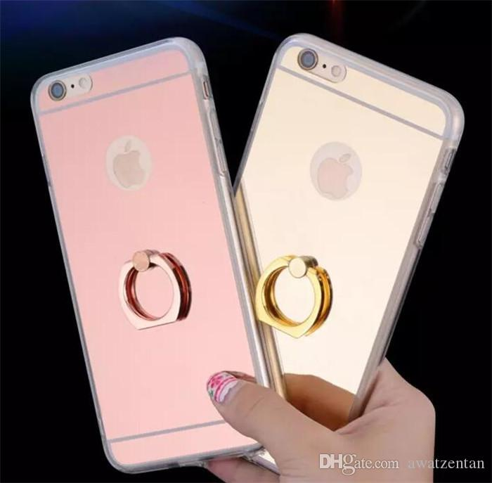 Mirror TPU Case for i-P-hone 7 Fashion Fundas Shockproof case cover with Ring Stand Mobile Phone Protection Shell i-P-h-one 6 /plus