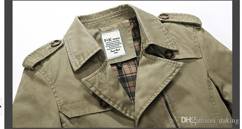 Automne Hiver Europe de la marée hommes Vestes Lapel Long Neck Coton Noir Vert mâle Style lambrissé poches Bouton Vestidos Manteaux Manteaux Casual