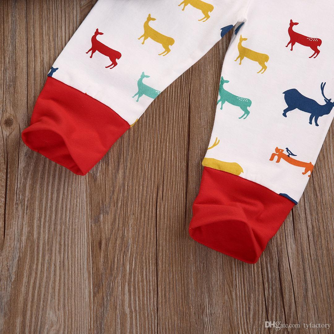 autunno inverno vestiti del bambino Unisex Boy Girl Deer Top T-shirt + Pants + hat 3 pz stile coreano bambini che arrivano a casa Outfits top Set costume spedizione gratuita