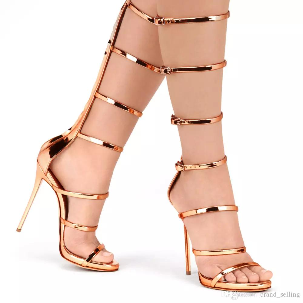 New Arrival Cover Heel Women Sandals Back Zipper Open Toe Knee High Tall Rome Gladiator High Heel Sandals Boots Shoes