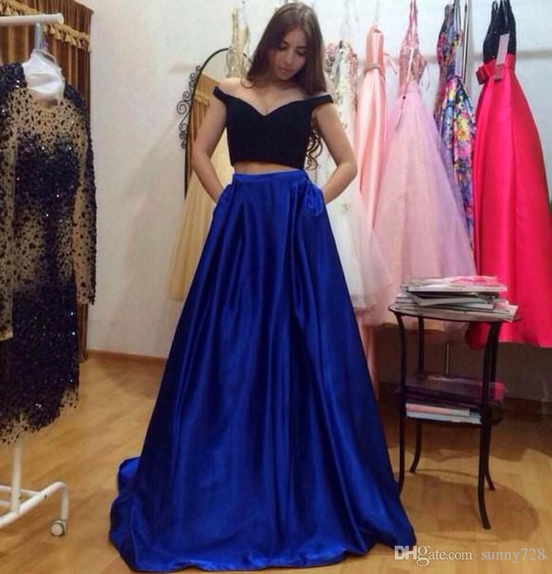 2016 Vintage Two Piece Long Prom Dress Sexy Off Shoulder Black ...