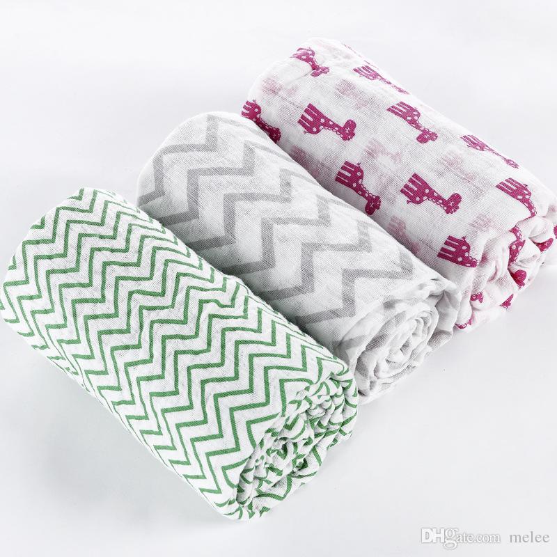 Ins New chevron zigzag mousseline couvertures couvertures nouveau-né grand doux 2 couches coton gaze serviette 20 conceptions été housse de poussette couverture 120 * 120cm