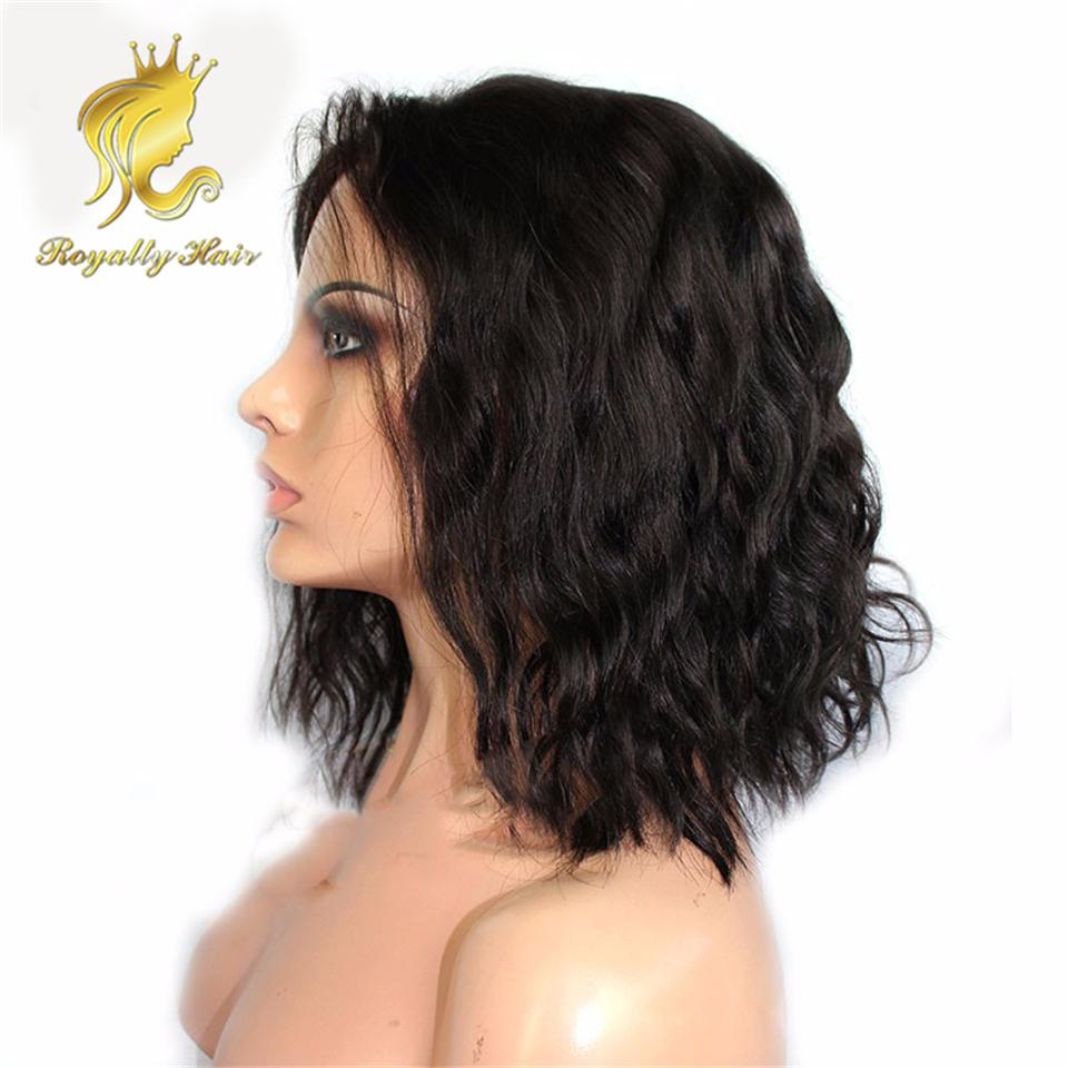 Short Bob Front Lace Wigs Brazilian Natural Wave Black Bob Wig Full Lace Human Hair Wigs For Black Women With Baby Hair