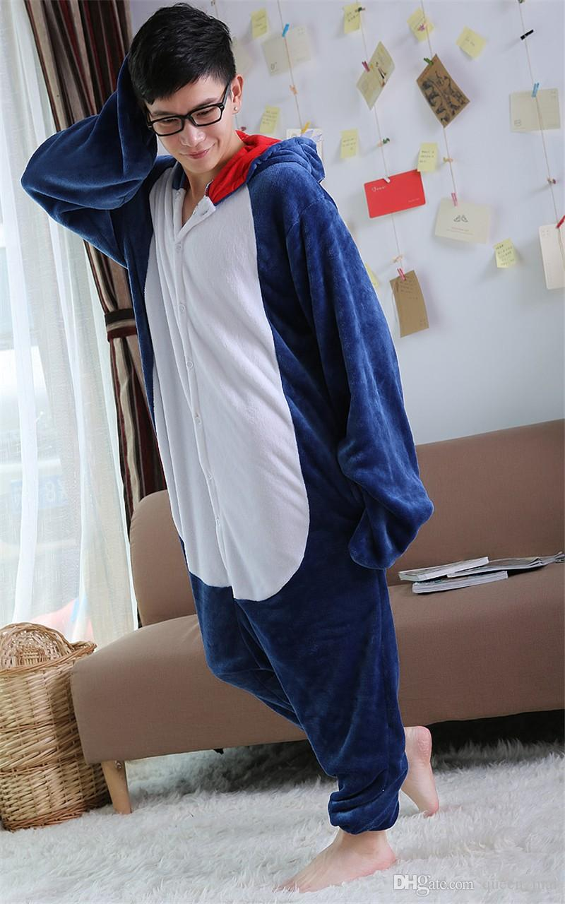 Animal Cosplay Costume Adult Pajamas Seafish Shark Onesies Cartoon Sleepwear Sleepsuit Shark Pajamas Cartoon Animals Big Blue Fish Jumpsuit