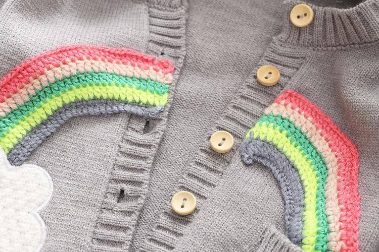 Cute Girls Rainbow Cardigans Sweater 2017 Fall Winter Kids Boutique Clothing 2-7Y Little Girls Button Long Sleeves Knitting Outerwear