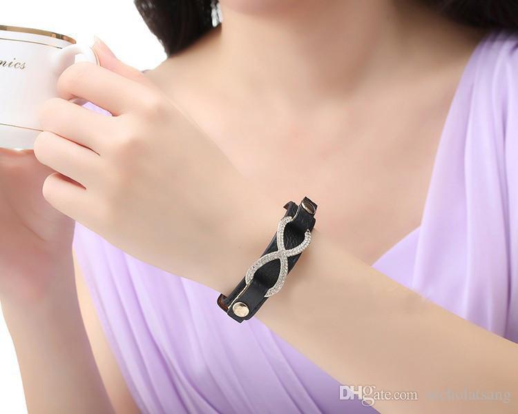 여성을위한 크리스탈과 정품 18K 골드 도금 진짜 가죽 레드 무한 팔찌 Bangles 3 색 도매