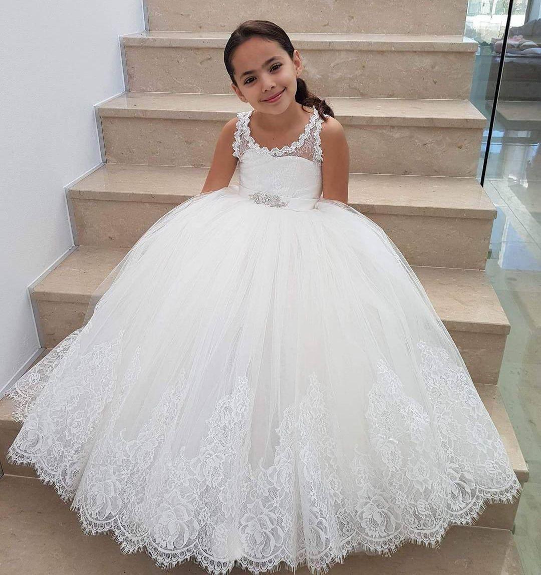 Weinlese-weiße preiswerte Blumen-Mädchen kleidet wulstige Schärpe-Prinzessin-Ballkleid-Spitze-Mädchen-Festzug-Kleid-Ballettröckchen-Rock-freies Verschiffen