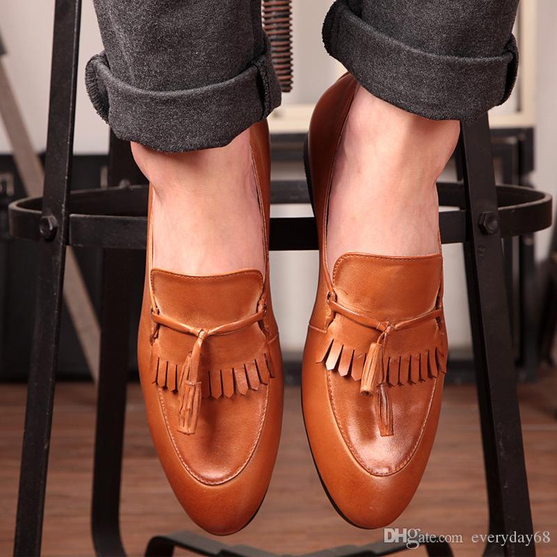 Slender toes, quality leather tassel dress Oxford Shoes men's slide charm shoes United Kingdom Korea style fashion wedding