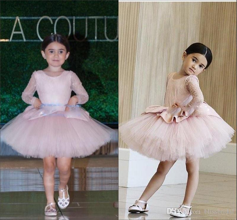 Long Sleeve Kids Formal Dress Blush Pink Short Flower Girl Dresses ...