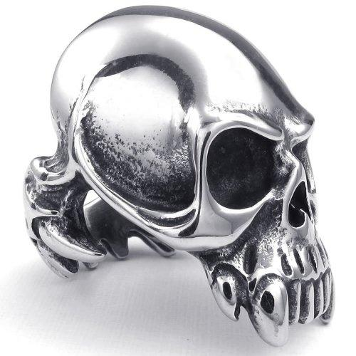 072739-Wholesale Large Heavy Stainless Steel Gothic Skull Mens Ring, Cool elegant fashion jewelry rings US Size: 8-14