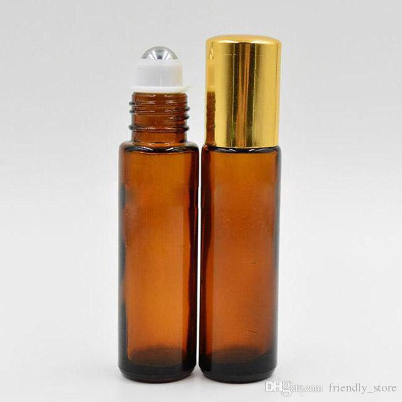 Wholesale 10ml Amber Glass Roll On Essential Oils Perfume Bottles Glass /Stainless Steel Roller Ball With Black /Gold Cap For Sale