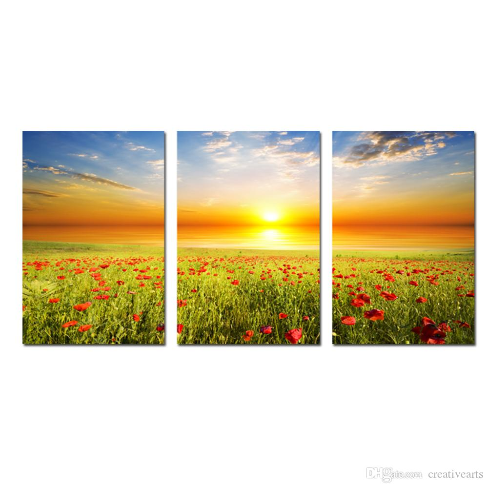 2018 Canvas Prints Wall Art Beautiful Scenery Flowers At Sunset ...