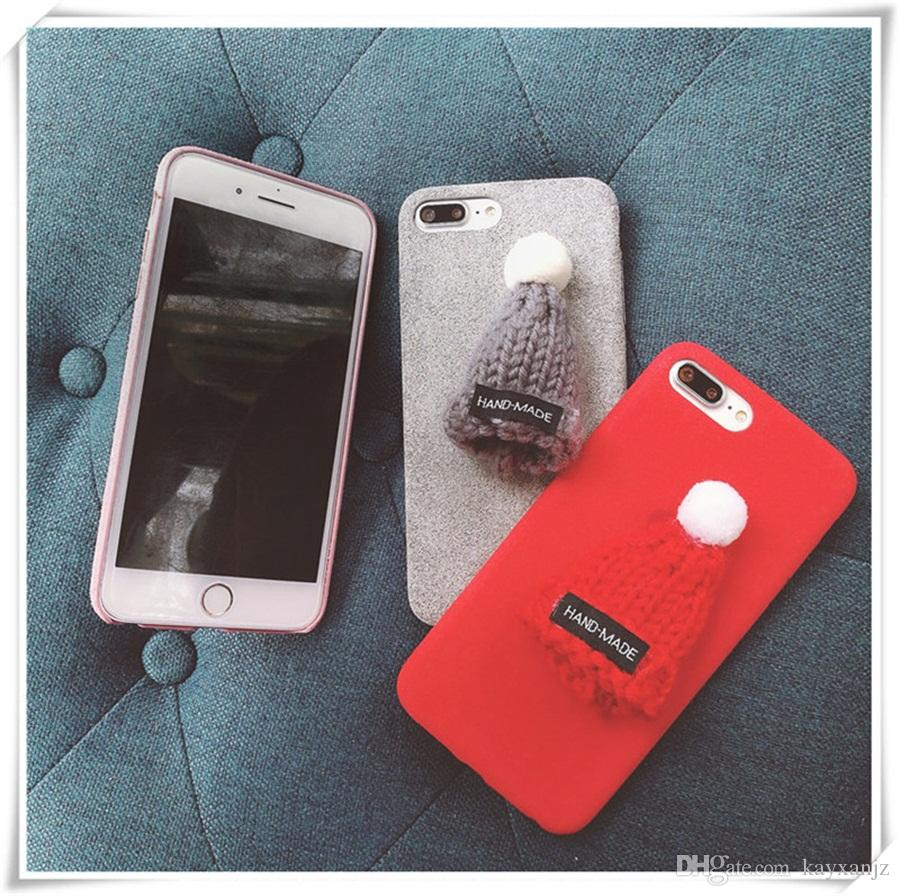 for iphone 6 case christmas hat plush hard cover for iphone 6s 7 plus cell phone case protective for samsung red pink gray buy cell phones cell phone case