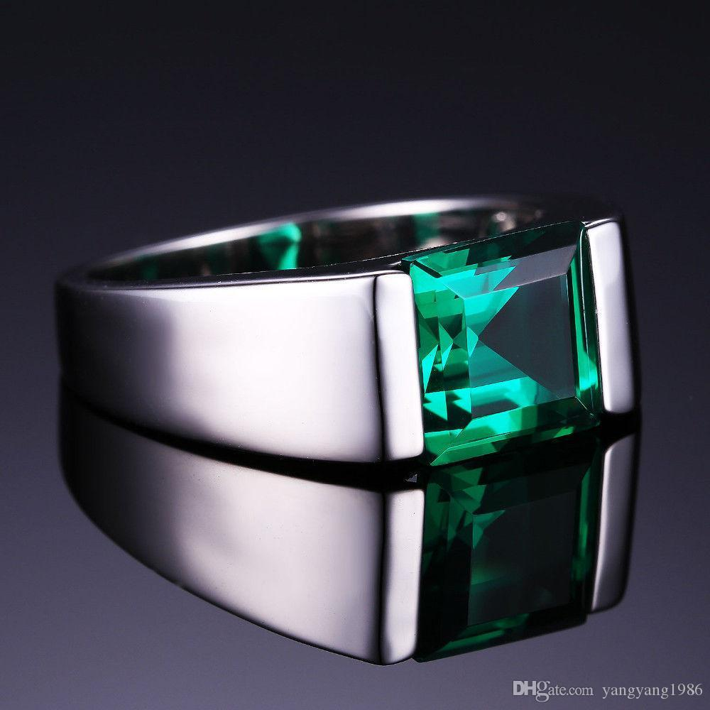 Wholesale - fine Luxury jewelry Handmade Men Solitaire Princess cut 4ct Emerald Simulated Diamonnd 925 silver Wedding Band Rings