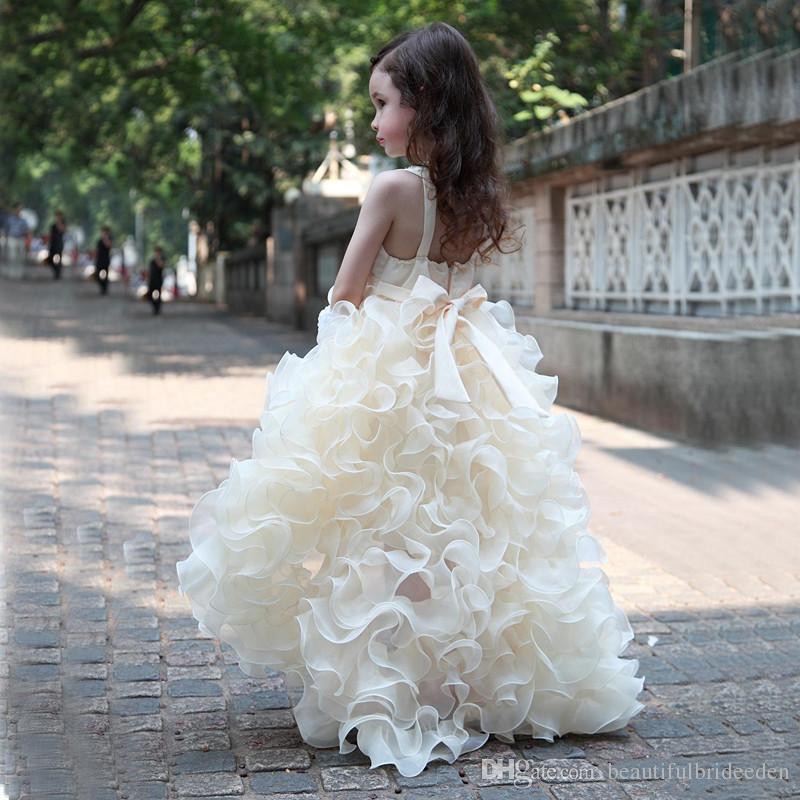 Пользовательские Принцесса бальное платье девушки Pageant платья с бисером Кристалл блестки ярусы желтый pageant платья для маленьких девочек Изабелла Барретт