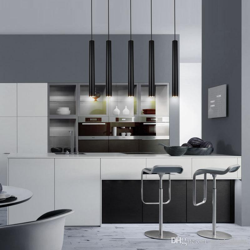 Luces colgantes creativas, lámpara moderna de la cocina, barra de comedor, barra de mostrador, luces colgantes, luz de la cocina, cilindro, aluminio