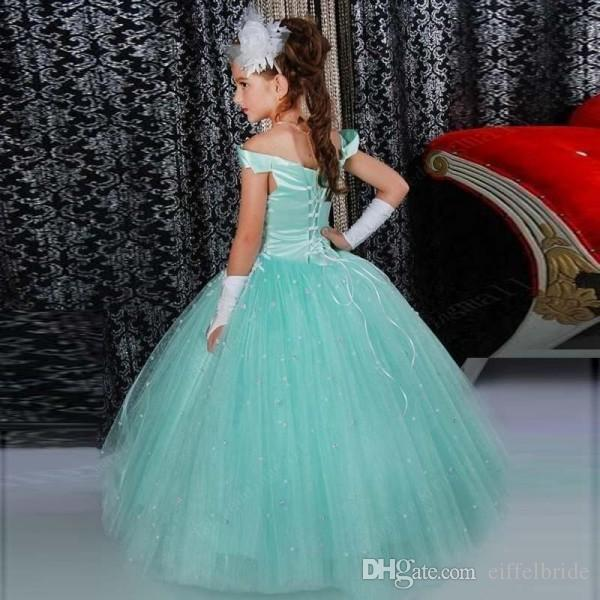 Stunning 2017 Girls Pageant Dresses Off The Shoulder Neckline Diamonds Beaded Lace Appliqued Lace-up Back Mint Tulle Girls Ball Gown