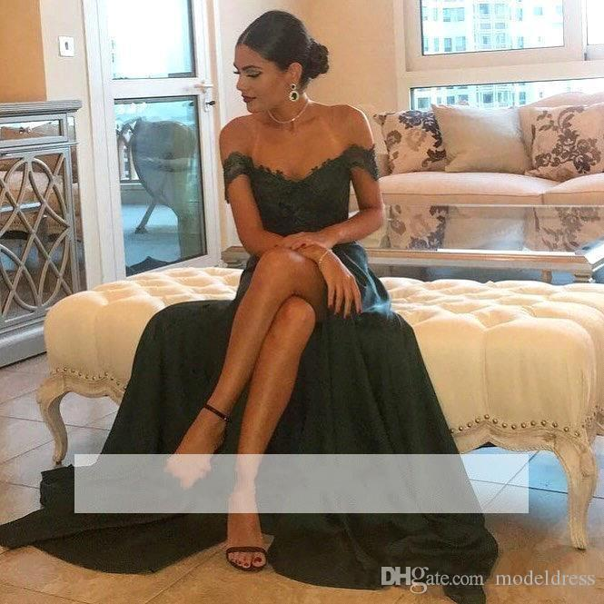 Dark Green Split Prom Dresses 2019 Off-the-Shoulder Lace Top Floor Length High Side Chiffon Long Arabic Evening Dress Formal Dress Cheap