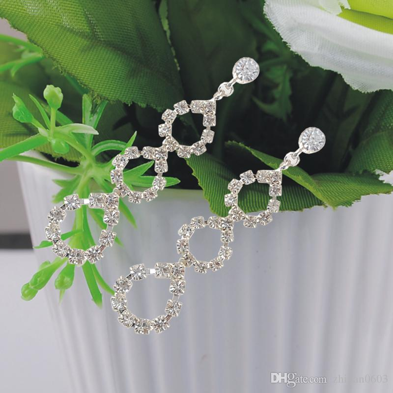 Pendientes de cadena de la nueva garra de las mujeres 100% pendientes de boda material verde 1 par / lote envío pesado de la gota