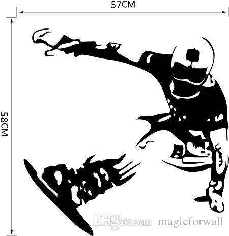Boys Sport Skating on Snowboard Wall Stickers for Boys Teens Room Decor Removable Skating Sport Wall Mural Home Decor Wall Posters