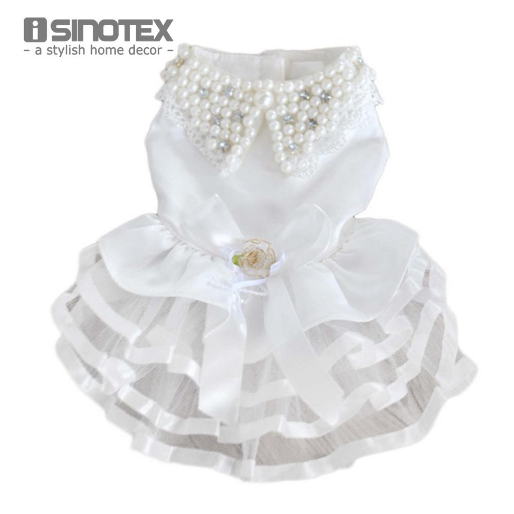 Online Cheap Puppy Lace Clothes For Dog Wedding Dress Pet