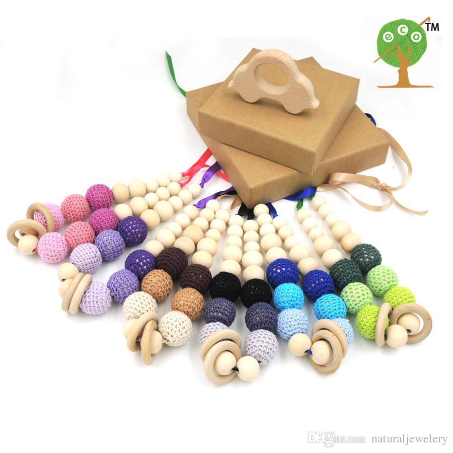 Grey pink coffee green lilac 20mm crochet beads Organic Teething necklace, Breastfeeding Nursing mom necklace EN25