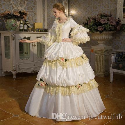 e5367af0716 Acheter 100% Réel Dentelle Blanche Ébouriffée Venise Carnaval Robe De Bal Médiéval  Costume De Reine Renaissance Robe Robe Victorienne   Marie Antoinette ...