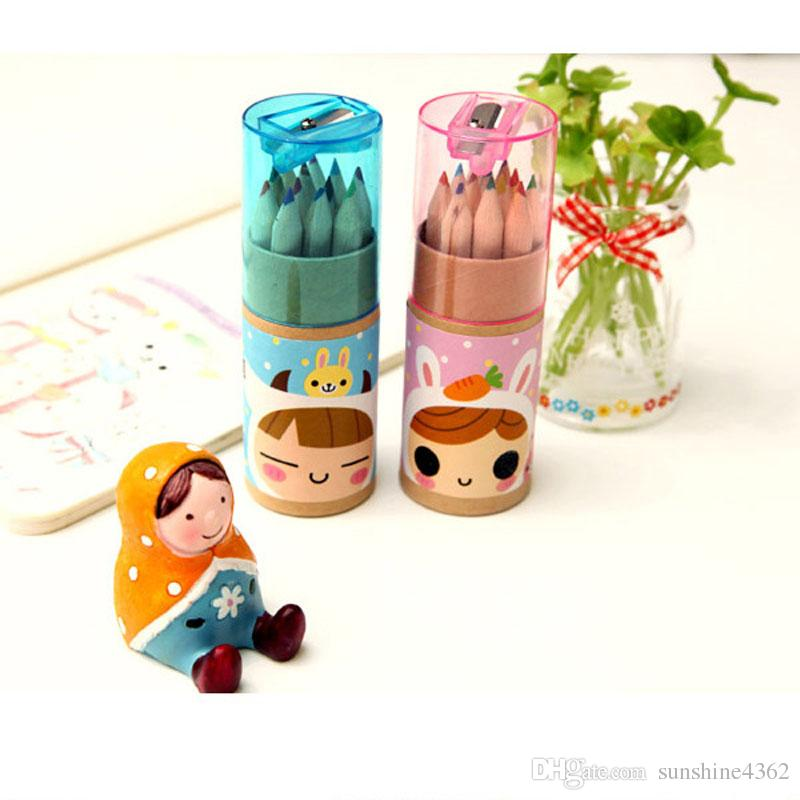 / New cute/box Wooden colored Pencil / with Kraft paper box and Pencil sharpener / Wholesale