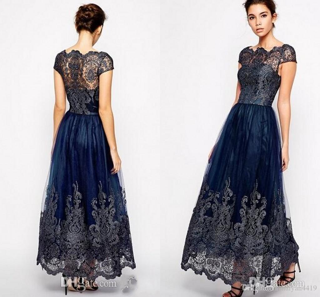 2020 Hot Sale Cheap Navy Blue Mother off bride dresses Illusion Cap Sleeve Plus Size Lace Appliques Ankle Length Women Formal Mothers Gowns