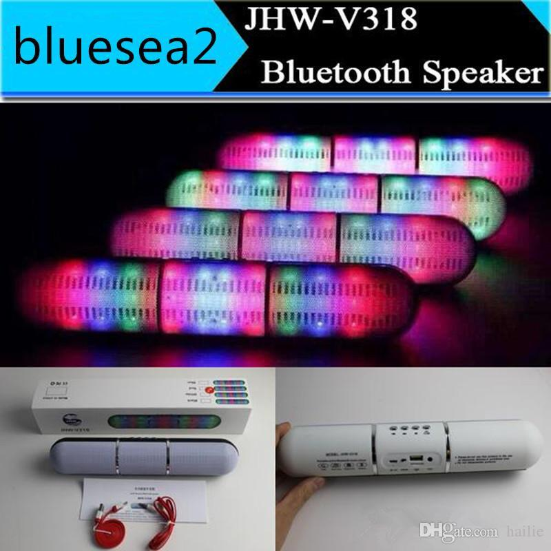New Pulse Pills Led Flash Lighting JHW-V318 Portable Wireless Bluetooth Speaker Bulit-in Mic Handsfree Speakers Support FM USB Free DHL Hot