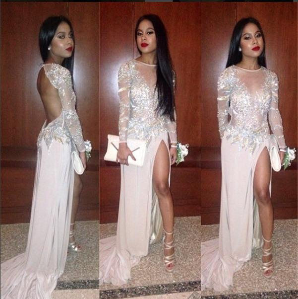 2016 Sexy Long Prom Dresses High Side Split Long Sleeve Jewel ...