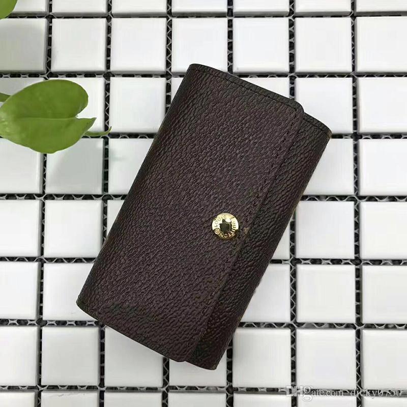 도매 키 지갑 남성 최고 품질의 여러 가지 빛깔의 가죽 짧은 지갑 레이디 여섯 키 홀더 여성 남성 클래식 지퍼 포켓 키 체인
