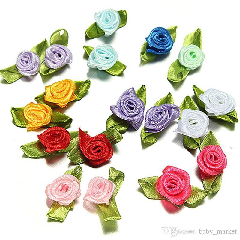 100pcs Mix Couleurs Nouveau artisanat ruban de satin fleurs cristal Appliques bricolage