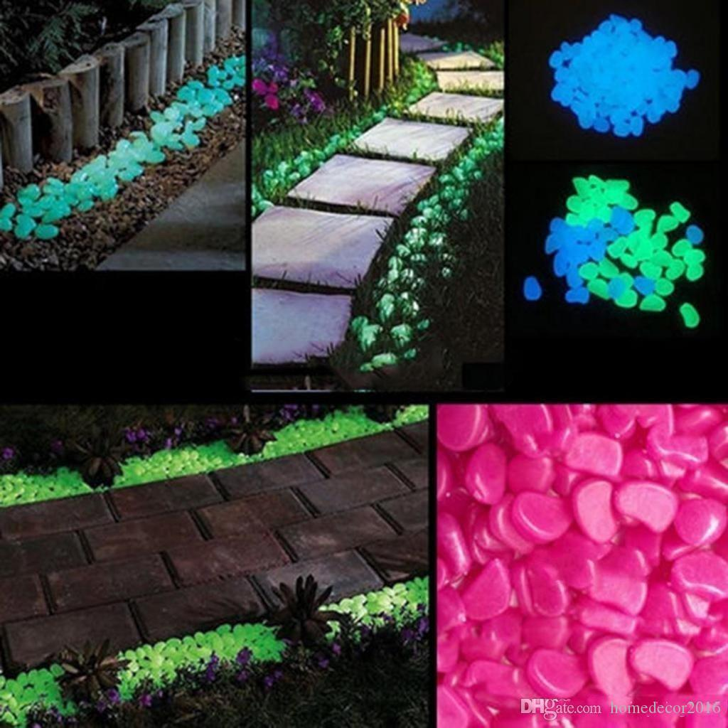 Garden Decoration Crafts Glow In The Dark Luminous Pebbles Stones For Aquarium Fish Tank Garden Water Fountain Decorations 100pcs Lot
