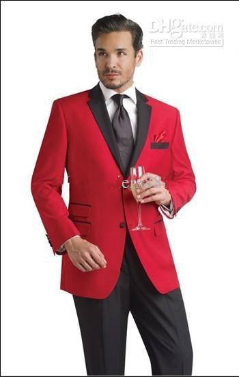 New Red Jacket Black Pants Tuxedos Meilleur Homme Cran Noir Revers Groomsmen Hommes Costumes De Mariage Marié Veste + Pantalon + Cravate