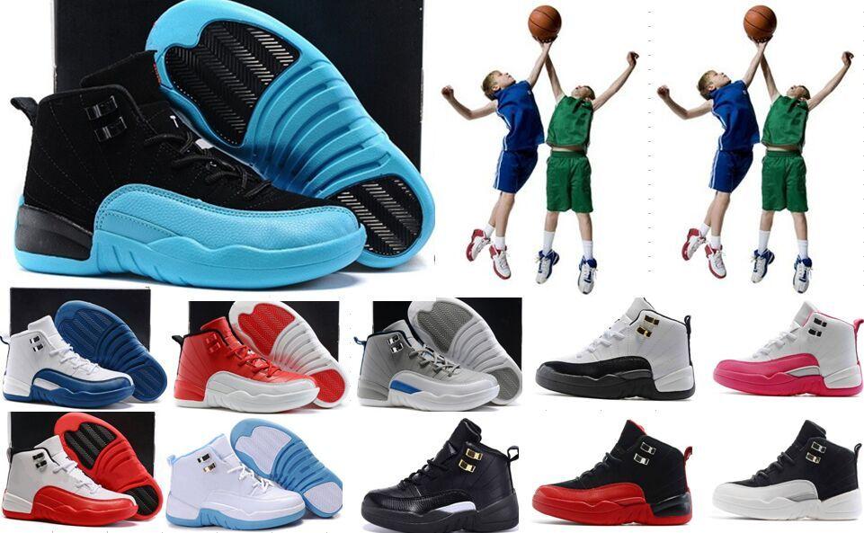 Высокое качество дети 12s баскетбол обувь горячие продажа 12s мальчики девочки французский синий мастер такси спортивная обувь кроссовки тренеры Легкая атлетика обувь 6-7