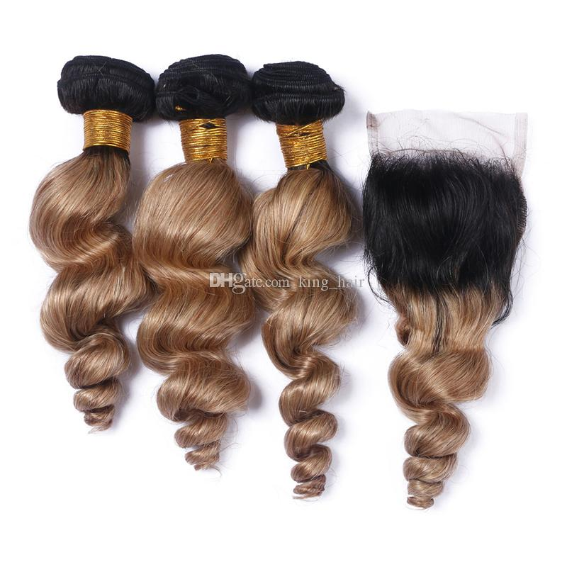 Honey Blonde Brazilian 9A Loose Wave Ombre Human Hair Bundles With Lace Closure #1B 27 Hair Weaves With Closure Middle Part For Woman