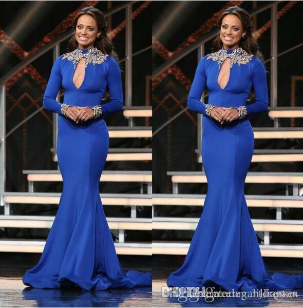 Mermaid Långärmad Royal Blue High Neck 2021 Red Carpet Celebrity Evening Dresses