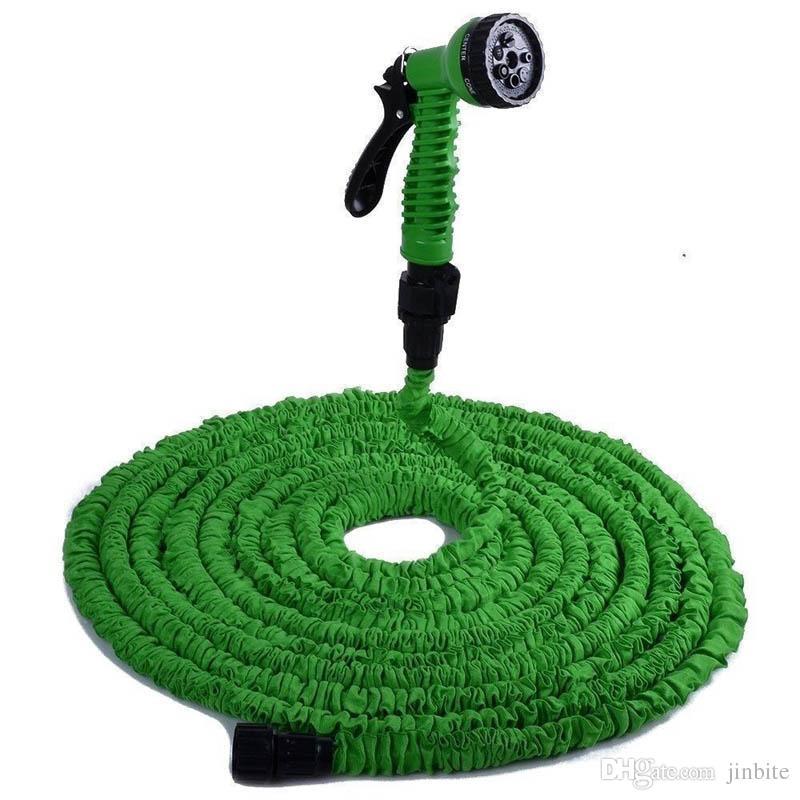 Alta qualidade 50ft mangueira retrátil / expansível mangueira de jardim azul cor verde conector rápido mangueira de água com pistola de água om-d9