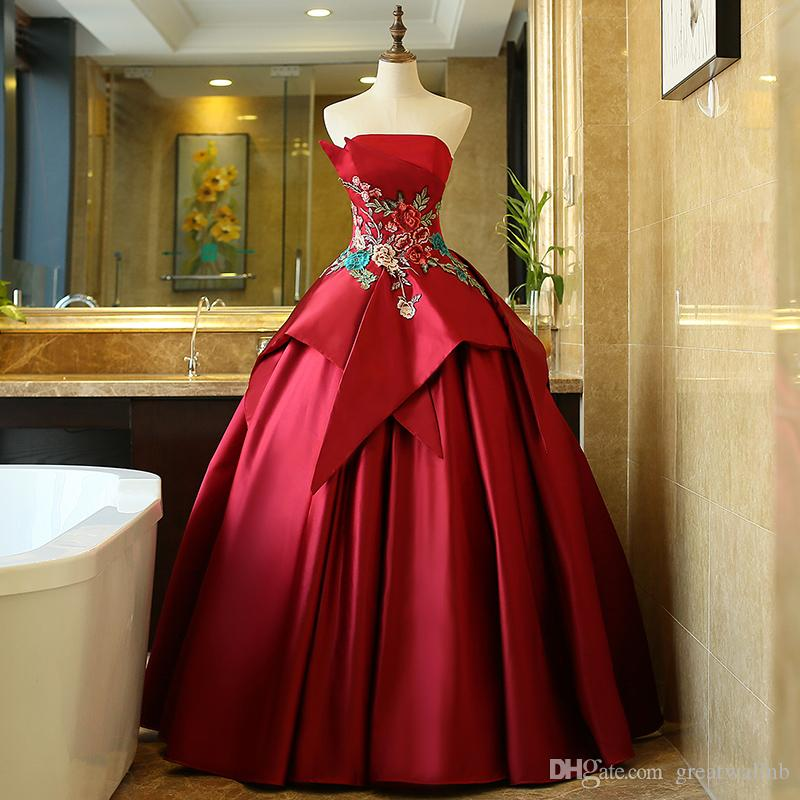 100%real Wine Red Flower Embroidery Waist Court Theme Medieval Dress ...
