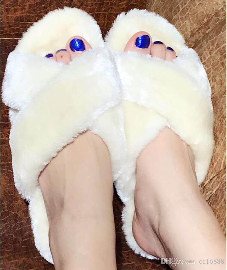 2018 Nueva Piel de Oveja Una Mujer Zapatillas de Oveja de Lana de Cuero Genuino slugged inferior Zapatillas Mujeres Primavera / Otoño Zapatos de Moda Zapatillas