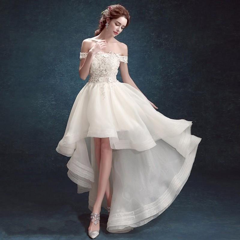 Hi Lo Wedding Gowns: Discount 2016 Princess Beach Wedding Dresses Hi Lo A Line
