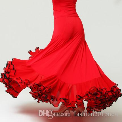 5085fae731ed 2019 Skirt Ballroom Dance Latin Salsa Flamenco Dance Skirts 2017 Sexy Club  Dresses Stage Costumes Big Swing Dress For Ballroom Dancing Wear F244 From  ...