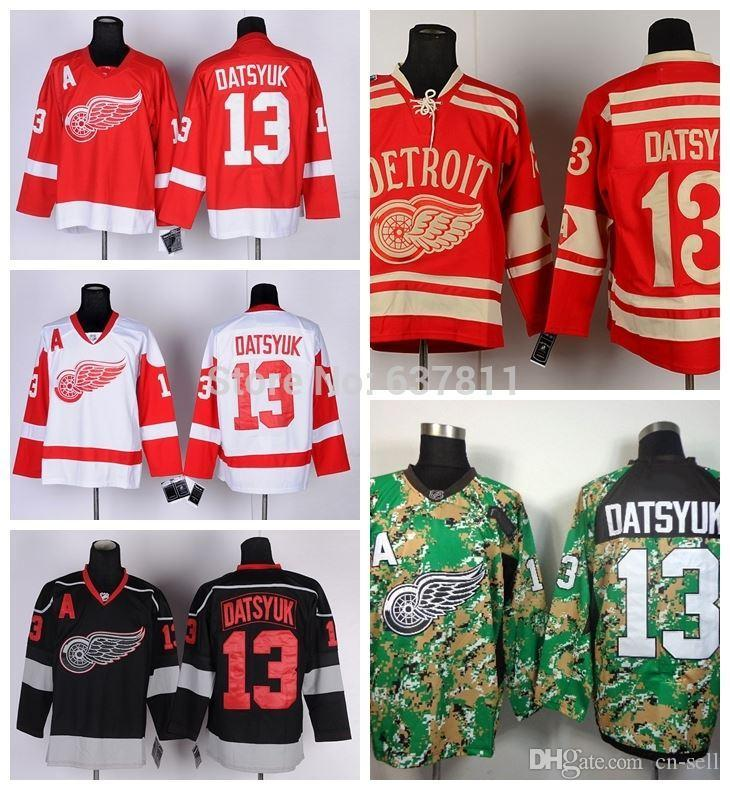 d55bd55da 2019 Cheap Detroit Red Wings Hockey Jerseys  13 Pavel Datsyuk Jersey Home  Red White 2014 Camo Black Ice Mens Stitched Jerseys A Patch From Cn Sell