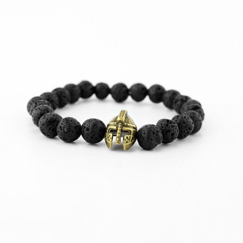 Gold Plated Roman Knight Spartan Warrior Gladiator Helmet Bracelet Men Black Matte Mala Lava Stone Bead Bracelets For Men Jewelry