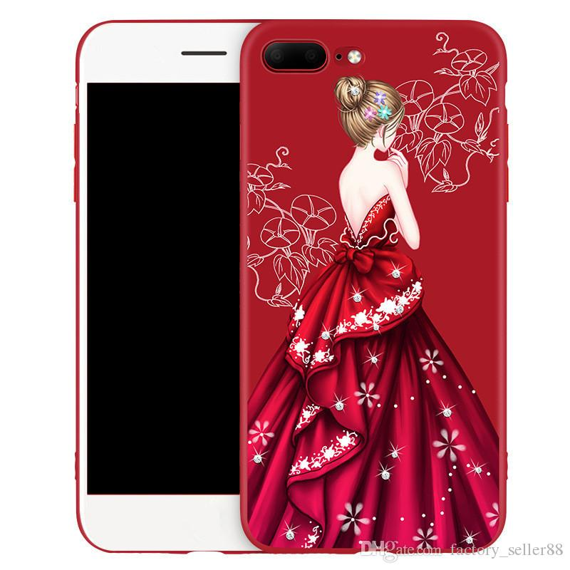 new concept 3a1c5 36586 For iphone X Case Girls Wedding Dress Diamond Cases Red Soft TPU Back Cover  For Iphone 6 7 8 Plus Shell Free DHL 364